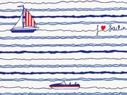 Dekostoff Segelboote Streifen maritim, dunkelblau weiß