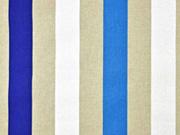 Leinenlook Dekostoff Blockstreifen, blau weiß