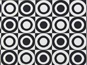 Jacquard Stoff Kreise Doubleface, schwarz weiß