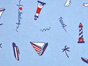 Dekostoff Boote Leuchttürme, rot weiß hellblau