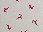 Dekostoff Leinenlook Hirsche, rot natur