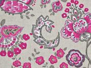 Dekostoff Leinenlook Kelchblumen, pink taupe natur