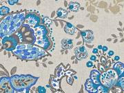Dekostoff Leinenlook Kelchblumen, jeansblau mint natur