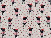 Dekostoff Leinenlook Hunde Paris, rot schwarz natur