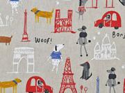 Dekostoff Leinenlook Paris französische Motive