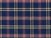 Dekostoff Karo Muster Britischer Stil, rot beige dunkelblau