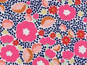 Dekostoff Blumen, pink aprikot dunkelblau weiss