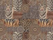 Dekostoff Gobelin Tiger Animal Print, braun schwarz