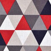 Dekostoff Dreiecke Leinen Optik, rot dunkelgrau natur
