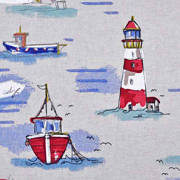Dekostoff Strandhäuser Leuchttürme Leinen Optik, blau rot natur