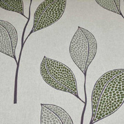Dekostoff große Blätter Leinen Optik, grün natur
