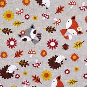 Leinenlook Füchse, Igel & Blumen, natur
