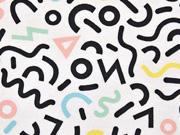 Dekostoff Figuren & Formen, pastell/weiss
