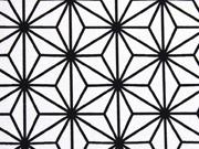 Dekostoff Sterne geometrisch Geo Star, schwarz auf weiss