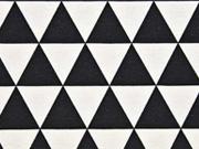 RESTSTÜCK 40 cm Dekostoff Dreiecke, schwarz/weiss
