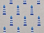 Leinenlook Leuchttürme, blau auf natur