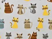 Dekostoff bunte Katzen, hellgrau