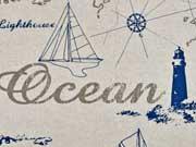 Dekostoff Leinenlook Ocean, natur - blau