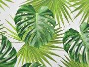 Canvas Digitalprint Half Panama Green Leaves, grün weiss