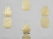 Dekostoff Metallic Pineapple Ananas, gold creme