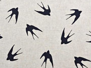 RESTSTÜCK 72 cm Leinenlook Schwalben schwarz natur