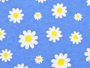 Dekostoff Margeriten, gelb himmelblau