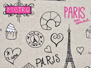 Leinenlook Paris, pink natur