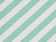 Dekostoff diagonale Streifen, mint weiß