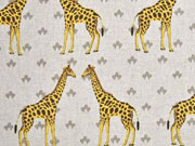 Leinenlook Dekostoff Giraffen, gelb natur