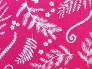 Baumwolle Ranken & Blätter, pink