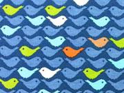 RESTSTÜCK 30 cm Megan Blue Jersey bunte Vögel auf indigo blau