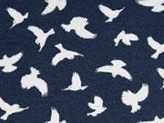 Reststück 79cm Megan Blue Jersey Vögel, creme auf dunkelblau