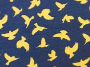 RESTSTÜCK 54 cm Megan Blue Jersey gelbe Vögel auf dunkelblau