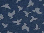 Megan Blue Jersey Vögel, grau auf dunkelblau