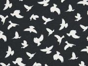 Jersey Vögel Megan Blue, creme auf schwarz