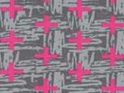 RESTSTÜCK 35 cm Jersey Crosses, pink auf grau