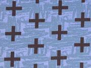 Jersey Crosses, schwarz auf rauchblau