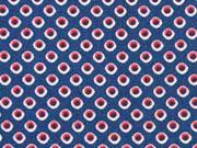 Baumwollstoff  Punkten Editex, weinrot auf dunkelblau