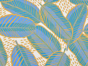 RESTSTÜCK 53 cm Editex Baumwollsatin Blätter, petrol ecrue