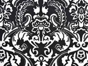 Dekostoff Ornamente Ranken, schwarz weiß