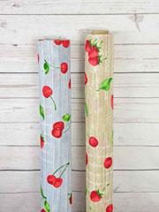 Dekostoff Holzoptik Kirschen Erdbeeren, beige