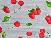 Dekostoff Holzoptik Kirschen Erdbeeren, hellgrau