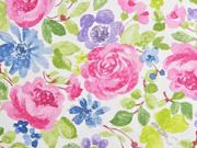 Dekostoff große Blumen, rosa blau weiß