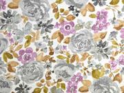 Dekostoff große Blumen, grau braun flieder weiß