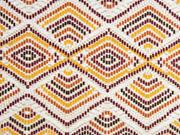 Dekostoff Ethnomuster gemusterte Rauten, orange rostbraun weiß