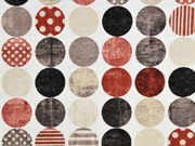 Dekostoff gemusterte Kreise, rotbraun beige schwarz cremeweiß