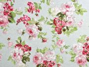 Dekostoff Rosenbouqet, rosa hellgrün hellblau