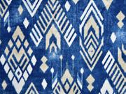 Dekostoff Batiklook Inkamuster Boho Style, beige blau