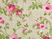 Dekostoff Leinenlook Rosen, rosa hellgrün natur
