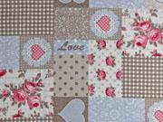 Dekostoff Shabby Chic Patchwork Style, rosa hellblau cremeweiß